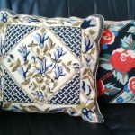 Needlepoint Tapestry pillow Black and Red or Blue with contemporary graphics in traditional hand work.