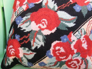 Needlepoint Tapestry pillow Black and Red with contemporary graphics in traditional hand work.