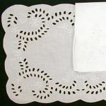 Broderie Anglaise 100% Linen embroidered place mat and matching napkin set for dining pleasure.