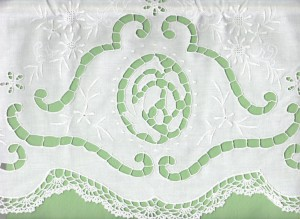 Crochet Lace trim and cutwork embroidered Envelope Pillow cover.