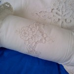 Cut work Rose Ecru cotton pillow sham for the bed with full cutwork embroidered trim.