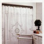 Cutwork Rose shower curtain beautifully designed with cutwork embroidered roses on all sides on premium quality cotton, Detachable valance.