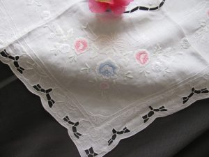 Pure Linen Cutwork and White work embroidered Rose Bouquet in Pink & Blue colours.