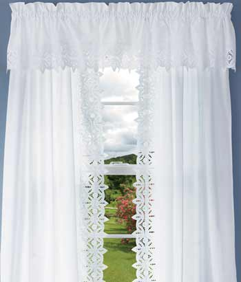 Filigree Eyelet Lace Trim 6 Width Window Valance White Or Cream The And Linens Co