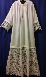 Liturgical White Albs for the clergy -DIY Battenburg Sunflower Allover Lace tablecloth.