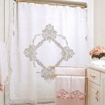 Winter White Elite Battenburg Lace Shower Curtain premium quality Cotton