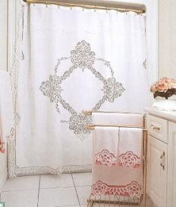 Winter White Elite Battenburg Lace Shower Curtain premium quality Cotton