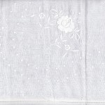 Handmade Satin Stitched Roses on pure white natural fibre Cotton