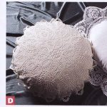 Solid Battenburg lace cushion in a round shape- cream colour.