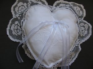 Tuscany Lace Heart shaped Wedding Ring Bearer Pillow with detailed hand embroidered Chrysanthemum