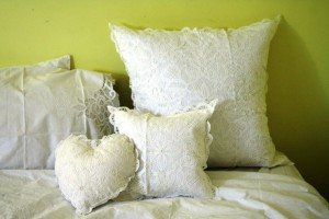 Pure White Cotton Solid Battenburg Lace pillows in Heart square or round shapes.