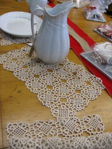 Vienna Crochet Lace runner- Inspired by the Celtic Knot symbol- beautifully designed to reflect a contemporary setting rooted in ancient culture. Imagine the rich ecru tone on a black contemporary coffee table.
