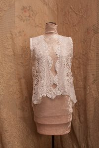 Crochet Lace Vest scallop edging. Lightweight & open weave sleeveless. White Cotton.