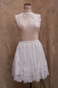 Crochet Lace flowy circle skirt scallop edging. Lightweight & open weave. Lined. White Cotton.