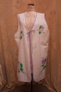 Purple Pansies Tunic Vest featuring contour embroidery. Large or extra large size. Cotton.