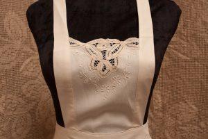 Vintage Ecru Cotton Battenburg Lace full length apron with hand made lace details