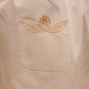 Battenburg Lace bib apron. Pocket hows hand made lace details