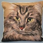 Needlepoint Tabby Cat Petit & Gros Point Tapestry cushion cover.
