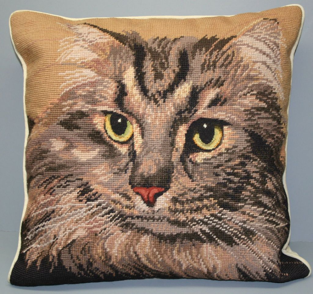 Needlepoint Tabby Cat Petit u0026 Gros Point Tapestry cushion cover. : tapestry tent needlepoint - memphite.com