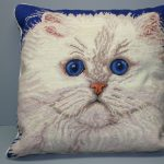 Needlepoint White true Persian Doll-faced Cat cushion cover.