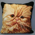 Petit point & Gros point Woolen Tapestry Red Peke-faced Persian cat pillow cover.