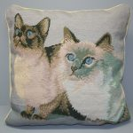 Needlepoint Siamese Cats in Petit Point & Gros Point Woolen Tapestry cushion cover.