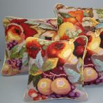 Harvest Fruit needlepoint cushion cover and seat pad.