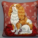 Woolen Needlepoint King Charles Spaniel Cushion Cover #21353