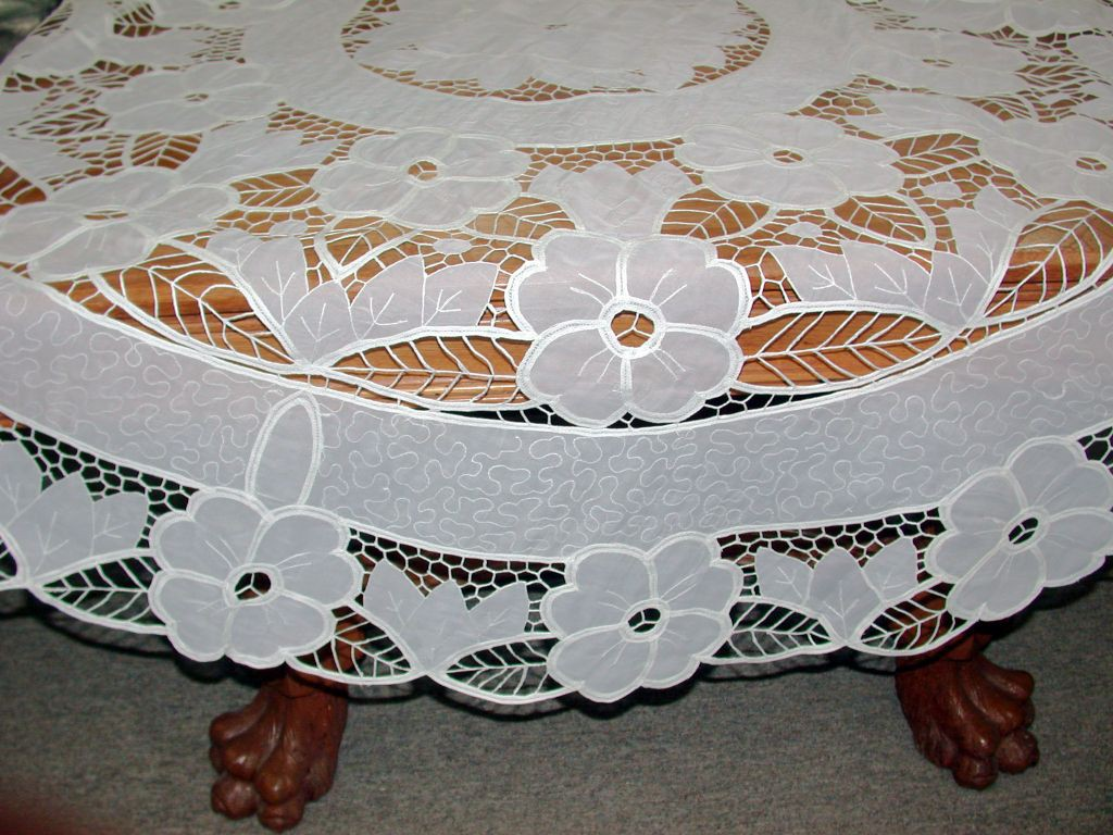 Crystal Lace Tablecloths: Round And Oblong  Interesting Combination Of  Cotton Battenburg Lace And Polyester