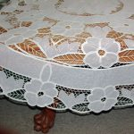 Crystal Lace Tablecloths: Round and Oblong- interesting combination of Cotton Battenburg Lace and Polyester sheer