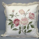 Needlepoint Roses Pink Favourite Wool Gros Point Crochet Lace trim pillow cover.
