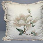Needlepoint Magnolia woolen cushion cover crochet trim