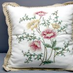 Gros Point Anemone heirloom roses cushion cover