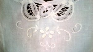 Full length apron French Maid Battenburg Lace Trapunto flower buds white cotton