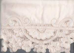 Cherry Blossoms Cutwork embroidery flowers and lace trim valance.