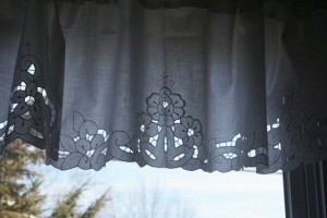 Pristine White Cutwork embroidered Roses Cotton valance will sure to enhance any decor.