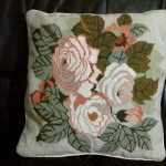 Adam first tea rose woolen needlepoint tapestry cushion cover.