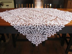 Hand crafted collectibles : Battenburg Sunflower all over lace tablecloth with brides & bars spider webs & lace rings.