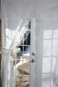 Battenburg Lace Peony Curtain Panel Matching Valance White Cotton The And Linens Co