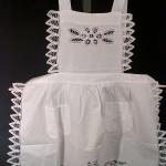 Elite Battenburg Lace Victorian style bib apron, with full lace trim.