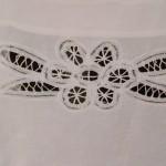 Elite Battenburg Lace Victorian style bib apron, with full lace trim.