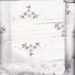 Petit Fleurs premium cotton matching pillow cases in 3-pieces sheet set with full batten lace edge