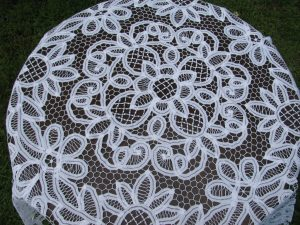 Beautifully handmade full Battenburg Lace tablecloth Lotus Design in natural fibre cotton rich thread.