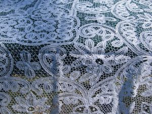 Classic All over Battenburg Lace with filling Buttonhole Stitch cotton tablecloth