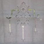 Design #1 Hemstitch & Renaissance Cut work panel for window or door close-up