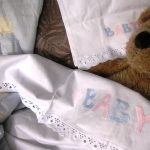 Lace trimmed Baby Embroidered sheet & pillow cases