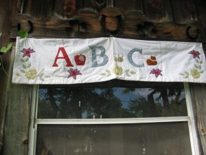 ABC valance to brighten baby room or Nursery beautifully embroidered A apple B bee C cat