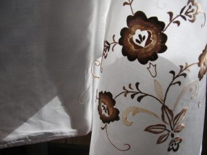 Exceptional Vintage pure silk round tablecloth embroidered in variable shades of bronze colour silk thread.