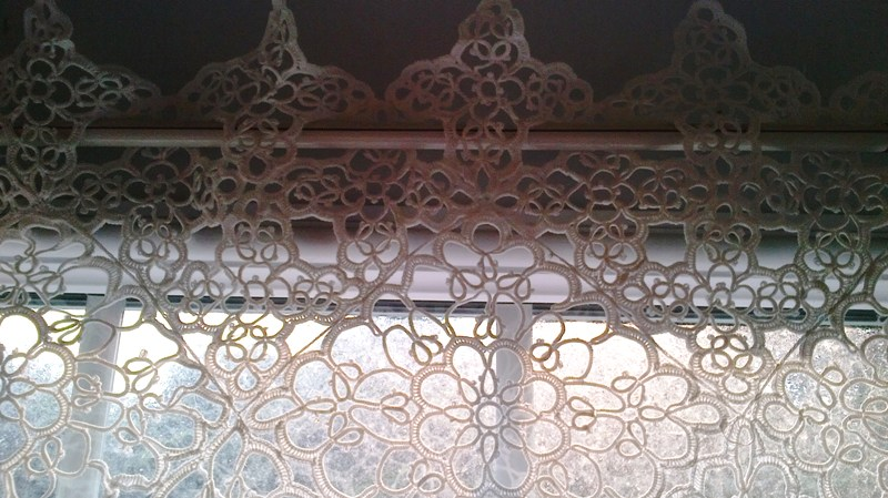 All Over Tatted Lace Tablecloth Can Be A Beautiful Tier Window Panel.
