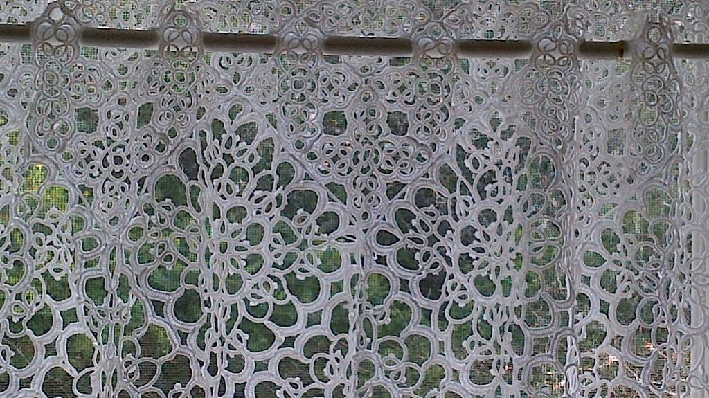 Amazing All Over Tatted Lace Tablecloth Can Be A Beautiful Tier Window Panel.